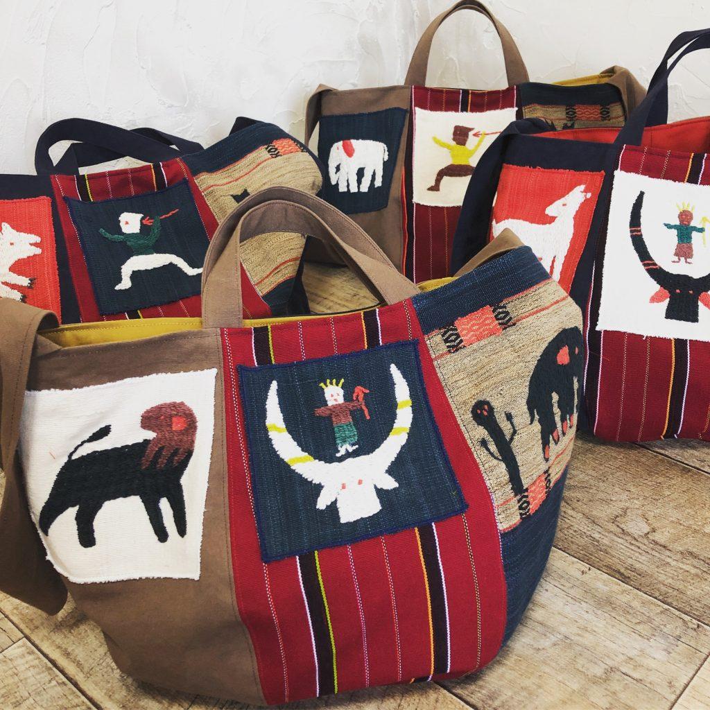 ミャンマー・ナガ族の手刺繍布シリーズ。6月のバッグ展で大放出