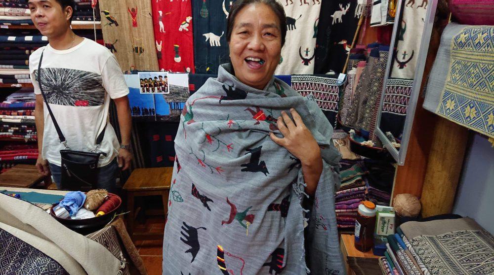 ミャンマー・ナガ族の手刺繍布。きびるアクションバッグ展2019。撮影masanori hanaizumi