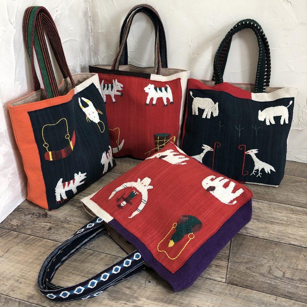 ミャンマー・ナガ族の手刺繍布。きびるアクションバッグ展2019。